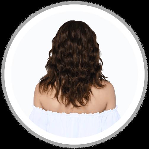 Dark brown, medium and curly human hair wig from behind