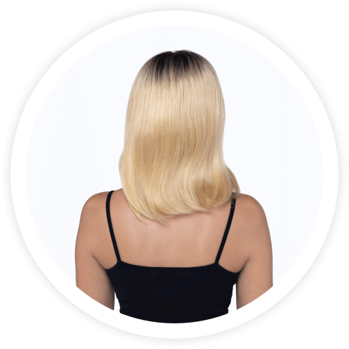 Bleach blonde, short and straight hair wig from behind